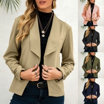 OL Style Long Sleeve Lapel Solid Color Blazer