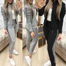 Fashion Plaid Spliced Long Sleeve Sweatshirt Coat + Pants Two-piece Set