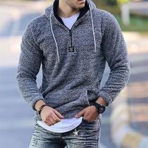 Fashion Long Sleeve Hooded Man's Plush Sweatshirt