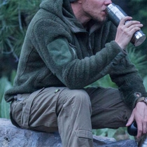 Fashion Solid Color Long Sleeve Hooded Plush Sweatshirt Coat for Man