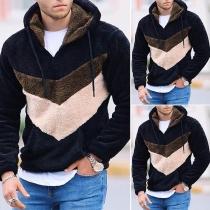 Fashion Contrast Color Hooded Man's Plush Sweatshirt