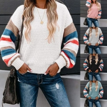 Fashion Contrast Color Long Sleeve Round Neck Sweater