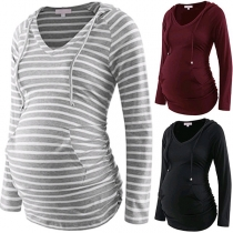 Fashion Solid Color Long Sleeve Hooded Maternity T-shirt