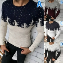 Contrast Color Round Neck Christmas Tree Printed Long Sleeve Man's Knitted Top
