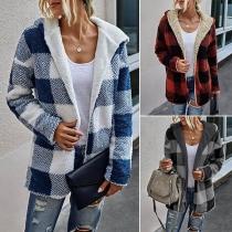 Fashion Long Sleeve Hooded Reversible Plush Plaid Coat