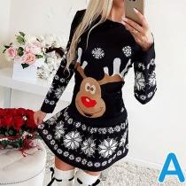 Cute Elk Printed Long Sleeve Round Neck Christmas Dress