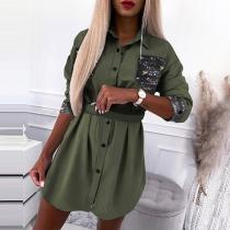 Fashion Long Sleeve POLO Collar Sequin Spliced Long Blouse