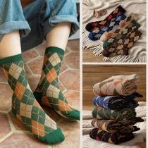 Retro Style Pliad Printed Socks