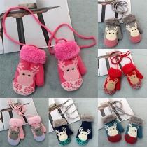 Cute Elk Pattern Contrast Color Knit Gloves for Kids