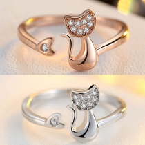 Cute Rhinestone Inlaid Cat Shaped Ring