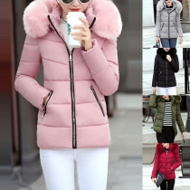 Solid Color Detachable Faux Fur Collar Spliced Hooded Padded Coat