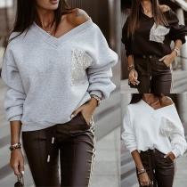 Loose Solid Color V-Neck Sequin Spliced Long Sleeve Top
