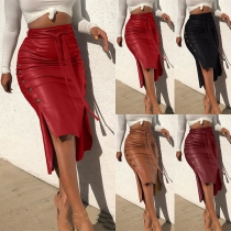 Sexy Slit Hem High Waist Solid Color PU Leather Skirt