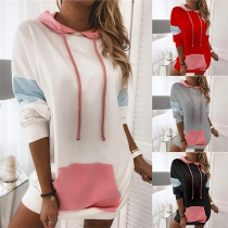Fashion Contrast Color Long Sleeve Hooded Front-pocket Sweatshirt