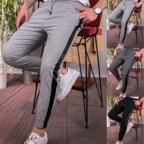 Fashion Contrast Color Elastic Waist Man's Casual Pants