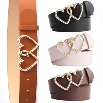 Fashion Dual-heart Inlaid PU Leather Waistband