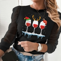 Fashion Christmas Printed Long Sleeve Round Neck T-shirt
