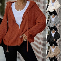 Simple Style Long Sleeve Hooded Solid Color Knit Cardigan