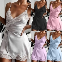 Sexy Backless V-neck Lace Spliced Solid Color Sling Nightwear Dress