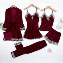 Sexy Lace Spliced Solid Color Nightwear Set 5 Pieces/Set