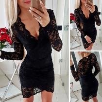 Sexy Deep V-neck Long Sleeve Slim Fit Lace Dress