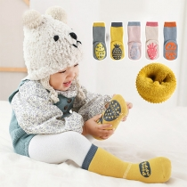 Cute Style Contrast Color Fruit Pattern Anti-slip Socks -2 Pair/Set