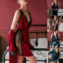 Sexy Backless V-neck Lace Spliced Sling Dress + Robe Nightwear Two-piece Set