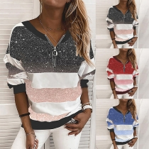 Fashion Contrast Color Long Sleeve V-neck Top