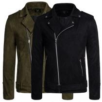 Fashion Solid Color Long Sleeve Oblique Zipper Man's Coat