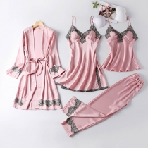 Sexy Lace Spliced Sling Top + Sling Dress + Pants + Robe Nightwear Four-piece Set