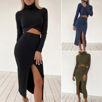 Sexy Long Sleeve High Collar Crop Top + Slit Hem Skirt Two-piece Set