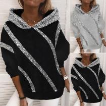 Fashion Sequin Spliced Long Sleeve Hooded Sweatshirt