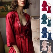 Sexy Backless V-neck Sling Dress + Robe Nightwear Set