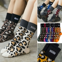 Fashion Contrast Color Leopard Printed Socks