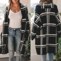 Fashion Long Sleeve Loose Plaid Knit Cardigan