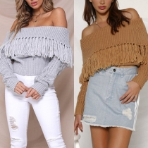Sexy Off-shoulder Boat Neck Solid Color Tassel Sweater