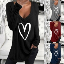 Fashion Heart Printed Long Sleeve V-neck T-shirt