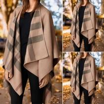 Fashion Plaid Spliced Lapel Irregular Hem Shawl Cardigan