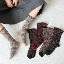 Fashion Lace Spliced Mixed Color Socks