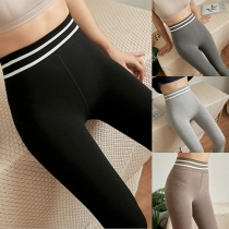 Fashion Contrast Color High Waist Stretch Leggings