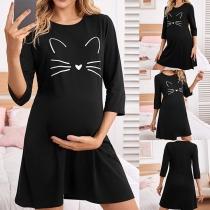 Cute Cat Printed 3/4 Sleeve Round Neck Dress