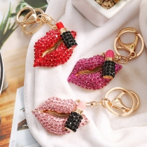 Fashion Rhinestone Lip Shaped Key Chain