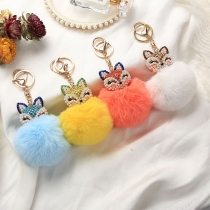 Fashion Rhinestone Inlaid Fox Hairball Pendant