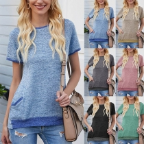 Casual Style Short Sleeve Round Neck Contrast Color T-shirt