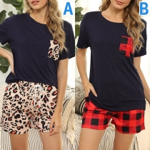 Fashion Printed Spliced Short Sleeve T-shirt + Shorts Home-wear Two-piece Set