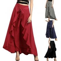 Fashion Solid Color High Waist Irregular Ruffle Hem Skirt