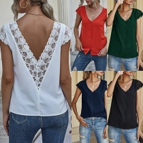 Sexy Backless Lace Spliced Short Sleeve V-neck Solid Color Top