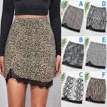 Fashion High Waist Lace Spliced Hem Slim Fit Skirt