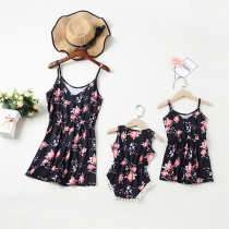Sexy Backless Printed Sling Paarent-child Romper