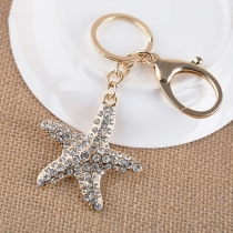 Fashion Rhinestone Inlaid Starfish Pendant Key Chain